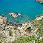 Turquoise Water along the Island's Rocky Coastline