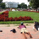 Low and close in front of the White House in Lafayette Park