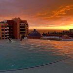 Sunset from the infinity pool on The Ridge