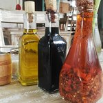 Standard oils with every meal... Chili oil, olive oil and balsamic