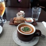 Lobster bisque and spring rolls