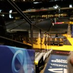 Where Curry does his famous pregame shot.