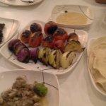 kebab,ox brain,humus,tomatoes and onions,