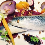 Mackerel teriyaki, purple onions in Port Wine with sweet and sour beetroot
