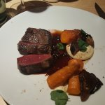 Reindeer fillet with celeriac puree, wild mushrooms and blackcurrant sauce