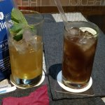 Rhubarb fizz and a long island iced tea