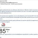 Email inviata alla reception per segnalare problemi WI FI