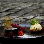 chocolate souffle with vanila ice cream
