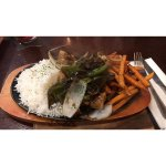 Chicken in Black Bean Sauce Sizzler, with Sweet Potato Fries and Rice (Half and Half)