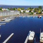 Arial view marina and Lake Superior