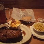 16 oz prime rib, mashed potatoes, corn, rolls, and fat tire.