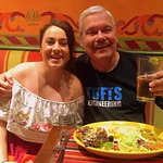 The delightful and lovely Elina along with me, my beer, and Enchiladas del Mar.