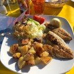 Sea Bream, roast potatoes and salad