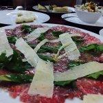 Carpaccio with freshly sliced sharp Parmesan!