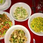 Grilled shrimp! Curry Chicken! Octopus, olive & caper pasta! A La Vodka pasta!