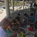 Arts & Crafts at the main pool bar - ping pong and big chess in the background