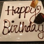 A little birthday celebration offered at no charge. The cake had a candle in it.