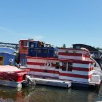 in the water with house boats