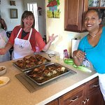 Jerk Chicken out of the oven with Louise and Nicole