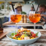 Prawn and Mango Salad with a 24 The Spritz cocktail