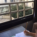 Homework time with view to the private courtyard