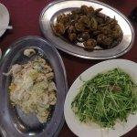 (Clockwise from left) Milk powder fried squid, la la fried with dried chili, dou miao