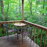 Fox Hole Cabin back porch area