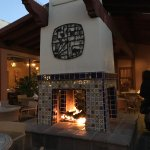 Courtyard with 4 sided fireplace at Cielos restaurant