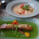 Lunch menu: Salmon in cucumber jelly and Bangkok Prawns