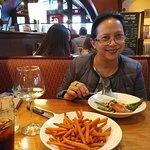 Chipotle salmon, sweet porato fries, moscato