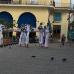 ...some entertainers on stilts in the square