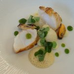 Roasted Monkfish tail with Mussel Broth, Caramelised Potato Purée and Sorrel