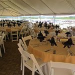 Wedding Reception on the Anchor Patio, under a tent and overlooking Lake Monroe