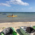Excellent service! Staff kayaking drinks out to guests relaxing in the water!