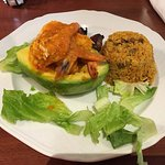 Shrimp Avocado with Pigeon Peas Rice and Fried Plantains.