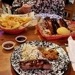 The Carolina rib plate with cold slaw, chips, and beans