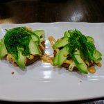 Avocado seaweed pizza