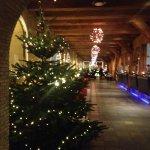 Foyer - beautiful wooden beams & Xmas lights with tree