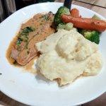 Salmon, mash and veg