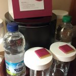 Complimentary mineral water and sweets