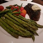 Coffee Crusted Sirloin with a side of asparagus