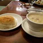 yummy potato soup with the fresh warm roll and butter