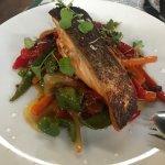 salmón con verduras al horno