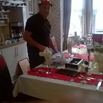 Nutty Billy getting ready for Christmas lunch