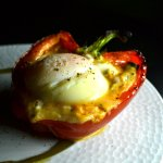 Stuffed pepper with egg, pisto and green pepper jam