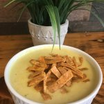 Our Poblano Corn Chowder Soup.