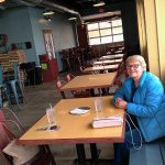 My mom posing for her pic at our new favorite pizza place.