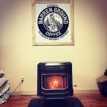 In the winter months, warm up by the pellet stove with some pour over coffee!