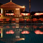 night-time at the pool