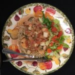 Mediterranean seafood and Basmati rice (marinated shrimp and scallops with tomatoes, onions,garl